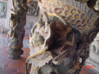 Dragon head carving on the pillar