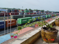 Railway container area at Padang Besar